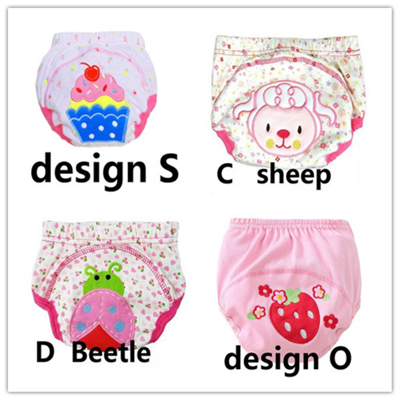 4Pcs Size100 Baby Training Pants Cotton Reusable Diapers Cloth Nappies Washable Learning Pants 12--16kg