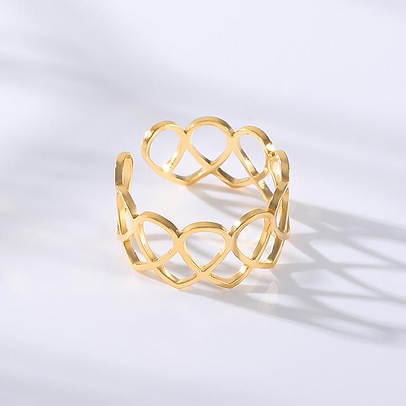 Кольца с полым сердцем для женщин и девушек, обручальные открытые Регулируемые кольца из нержавеющей стали цвета розового золота и серебра,...