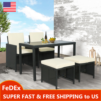 5-Piece Rattan Outdoor Patio Furniture Set Garden Wicker 1 Tempered Glass Table and 2 High Back Chairs 2 Ottoman Stools Set giantex portable outdoor furniture set table 4 chairs set garden camp beach picnic folding table set with carrying bag op3381re