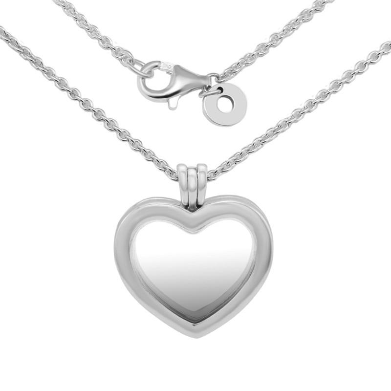 Clair CZ cristal coeur médaillon pendentif Collier amour déclaration colliers pour les femmes 925 en argent Sterling chaîne colliers bijoux bricolage - 5