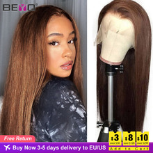 Brown Straight Lace Front Wig Transparent Lace Wigs For Black Women T Part Lace Wig Human Hair Beyo #4 Brown Peruvian Hair Remy