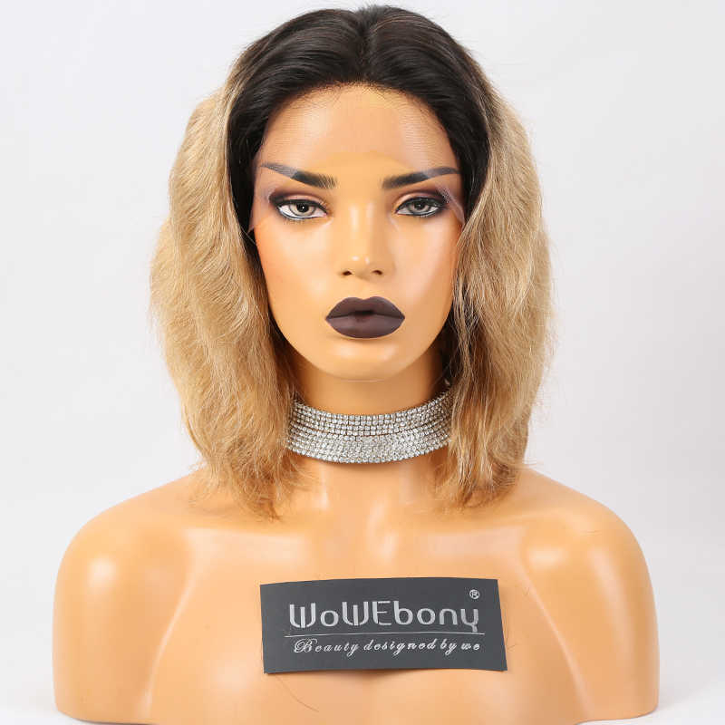 #1B/27 Ombre Human Hair Wig Brazilian Remy Lace Front Human Hair Wigs Body Wave Wig 150% Density Pre Plucked With Baby Hair