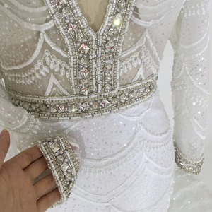 Image 5 - White Lace mermaid Wedding Dresses 2020 Long Sleeve Bridal Gowns Embroidery Beading Crystal Wedding Party Dresses Robe De Mariee