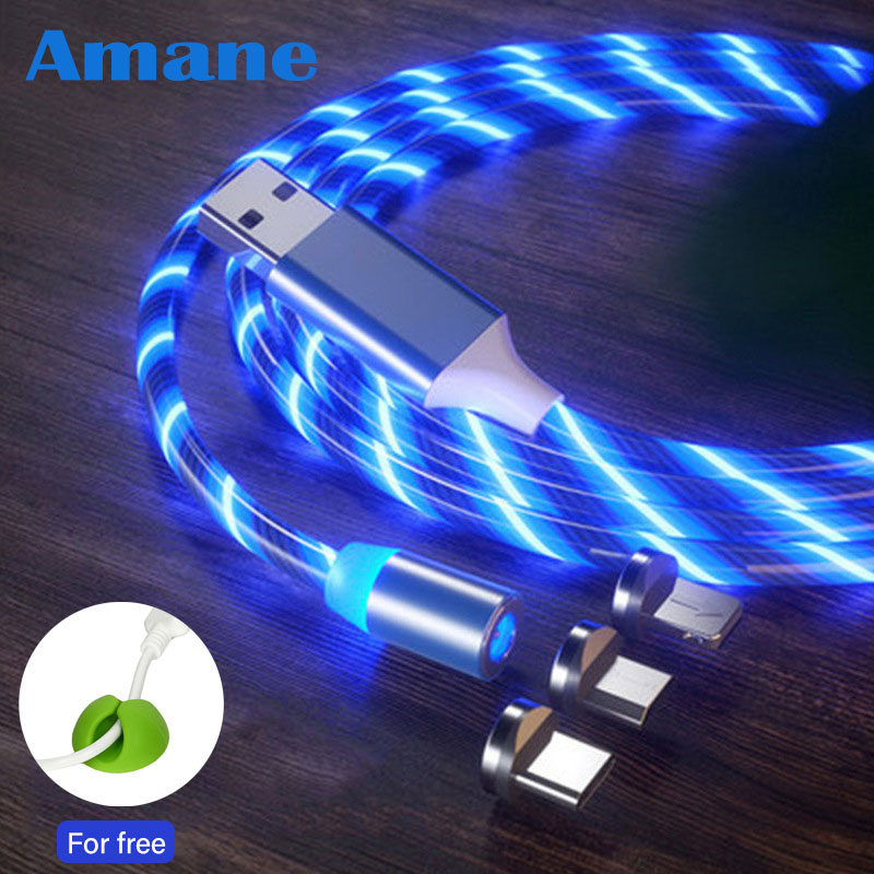 Flowing Light Magnetic charging Mobile Phone Cable for iphone charger Wire for Samaung LED Micro USB Type C