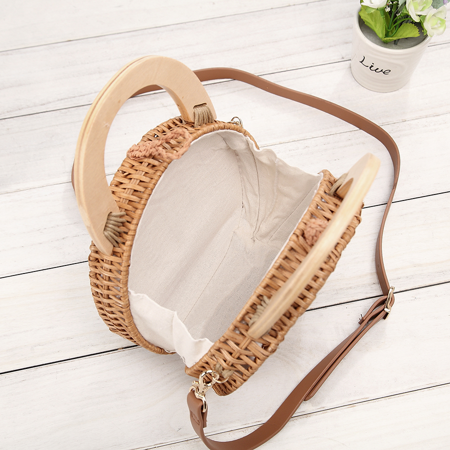 Straw Handbag Women Wooden Hand Woven Top Handle Beach Bag Circular Knitting Bags Travel Tote Straw Bags For Women Crossbody Bag in Top Handle Bags from Luggage Bags
