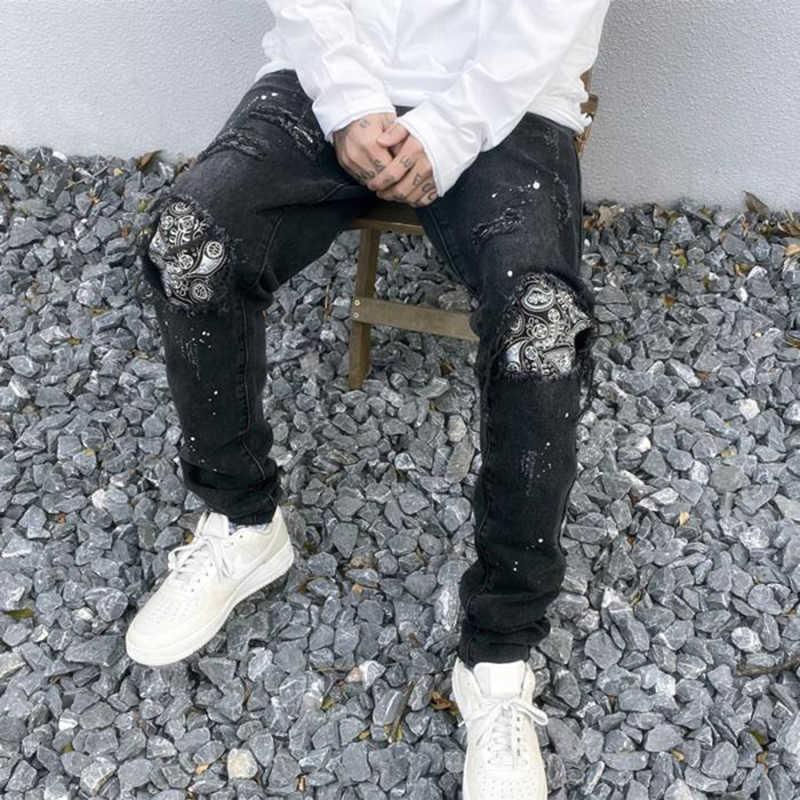 Pantalones Vaqueros Negros Con Agujero En La Rodilla Para Hombre Jeans Rasgados Informales Sueltos Y Rectos Pintados Pantalones Vaqueros Aliexpress