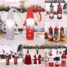 PATIMATE Santa Claus Wine Bottle Cover Merry Christmas Decorations for Home 2019 Cristmas Decor Christmas Ornament New Year 2020 стоимость