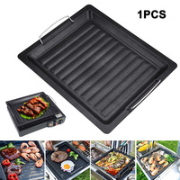 Non-Stick Thick Square Grill Pan with Two Helper Handles for Outdoor BBQ JA55