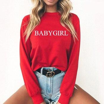 BABYGIRL Letter Print Hoodies Women Sweatshirt Round Neck Long Sleeve Loose Hoodie Streetwear 2019 Moletom Sudadera Mujer