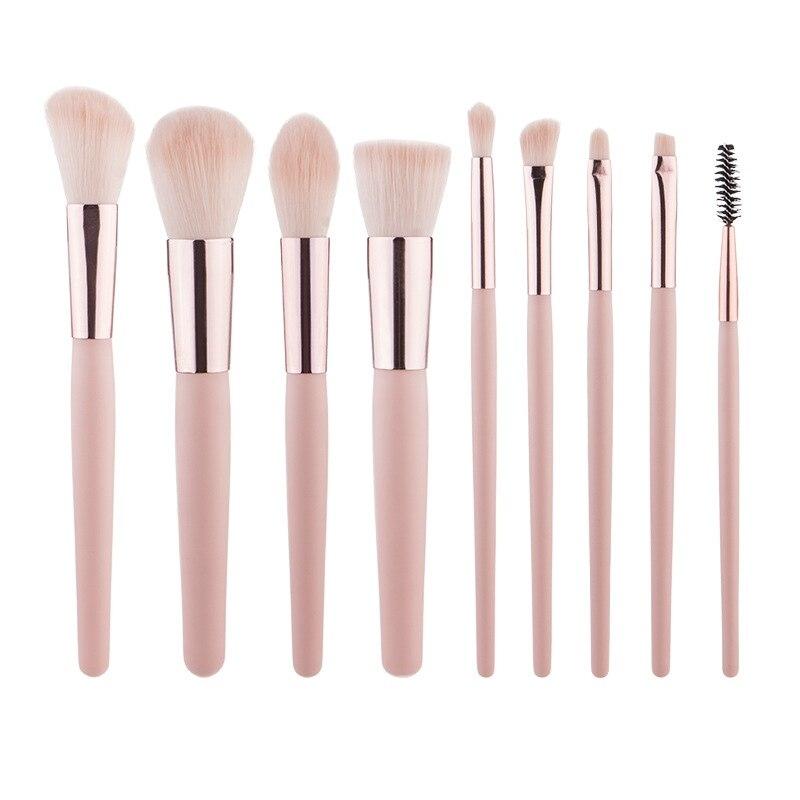 Makeup Brush Set Loose Powder Foundation Eyebrow Eyelash Lip Cosmetic 9pcs
