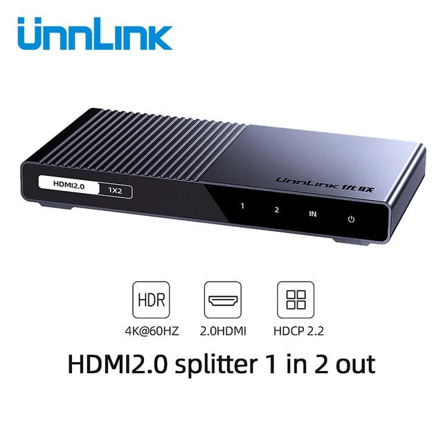 Unnlink Bộ Chia HDMI 1X2 1X4 HDMI2.0 UHD 4K @ 60Hz 18Gbps 4:4:4 HDR HDCP 2.2 3D Cho LED Smart TV Box PS4 Máy Chiếu Khuếch Đại