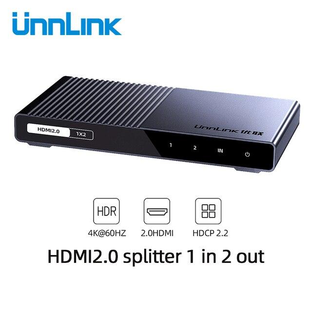 Unnlink Divisor HDMI 1X2 1X4 HDMI2.0 UHD 4K @ 60HZ 18Gbps 4:4:4 HDR HDCP 2,2 3D para amplificador de proyector LED Dispositivo de tv inteligente ps4