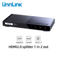 Unnlink HDMI Splitter 1X2 1X4 HDMI2.0 UHD 4K@60HZ 18Gbps 4:4:4 HDR HDCP 2.2 3D for LED Smart tv box ps4 projector amplifier
