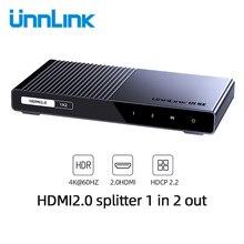 Unnlink rozdzielacz HDMI 1X2 1X4 HDMI2.0 UHD 4K @ 60HZ 18 gb/s 4:4:4 HDR HDCP 2.2 3D dla LED Smart tv box ps4 żarówka jak wzmacniacz