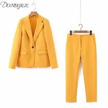 2019 Autumn Yellow Blazer and Pants Women Two Piece Set Single Button Blazer Hig