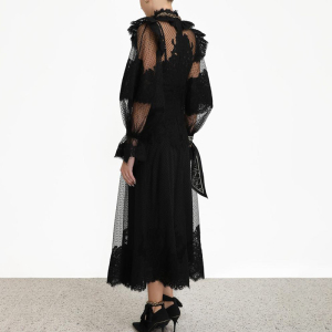 Image 5 - CHICEVER Perspective Patchwork Mesh Dress Women Stand Collar Lantern Sleeve High Waist Lace Up Dresses Female 2019 New Clothes