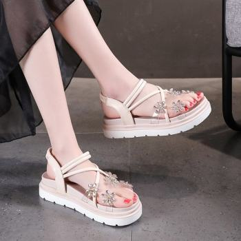 Rhinestone Platform Sandals Women Pvc Transparent Open Toe Sandals Summer Thick Sole Elastic Band Sandals Black Beige 2021