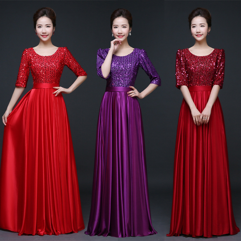 2019 New Style Large Choral Service Long Skirts Slim Fit Slimming Costume Stage Performance Evening Gown Women's Adult Summer