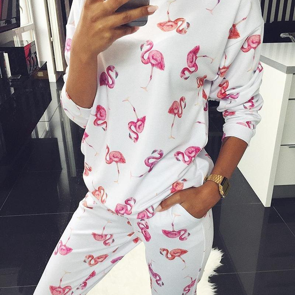 Women 2-pieces Pajamas Underwear Set Casual Long Sleeve O Neck Pattern Printed Long Pants Trousers Tracksuit Sets