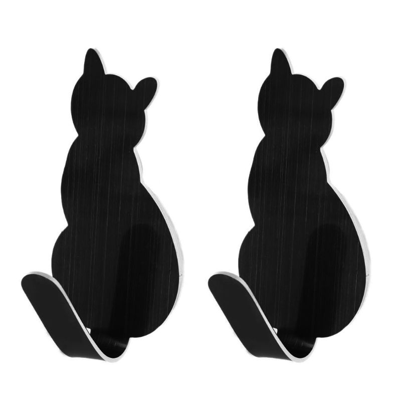 2pcs Cat Tail Shaped Decorative Stainless Steel Wall Door Clothes Coat Key Hanger Hook Rack