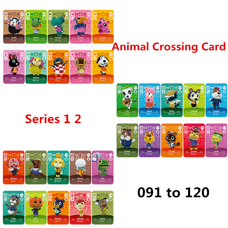 091-120 Animal Crossing Stickers Amiibo Amibo Card Nfc Ntag215 For NS Games Animal Crossing New Horizons Set Seasons Series 1 2