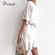 DICLOUD Casual Solid Cotton Linen Dresses Women Summer Short Sleeve V Neck Mini Party Dress Ladies A-line Summer Outfit