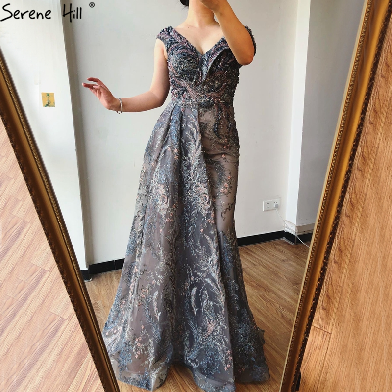 Dubai Grey Mermaid Sleeveless Sexy Evening Dresses 2021 V Neck Crystal Luxury Evening Gowns 2021 Serene Hill LA70557