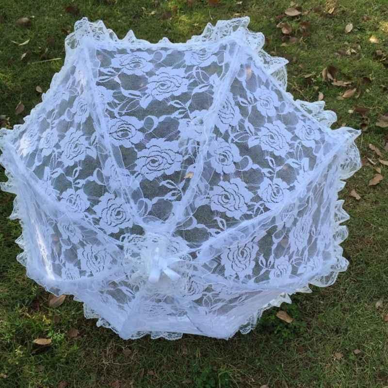 ブライダルレース中空傘結婚式の装飾の写真の小道具は、ロングハンドル傘
