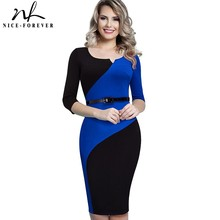 Nice forever Vintage Mature Classic Work Patchwork Contrast Color 3/4 Sleeve O Neck Tunic Bodycon Women Office Pencil Dress B358