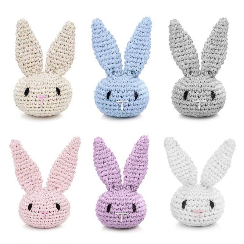 Handmade Crochet DIY Pacifier Clip Chain Accessories Cute Bunny Head Baby Teething Soother Decoratio