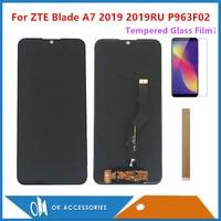 Pantalla LCD de 6 09 pulgadas para ZTE Blade A7 2019 2019RU P963F02 con Sensor de Digitalizador de pantalla táctil con película y cinta de vidrio templado