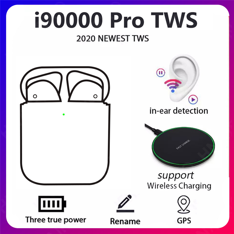 TWS Bluetooth Earphones i90000 Pro Wireless Headphone In-Ear Mini Waterproof Headset Noise Cancelling PK i500 i200 tws i12 i9000