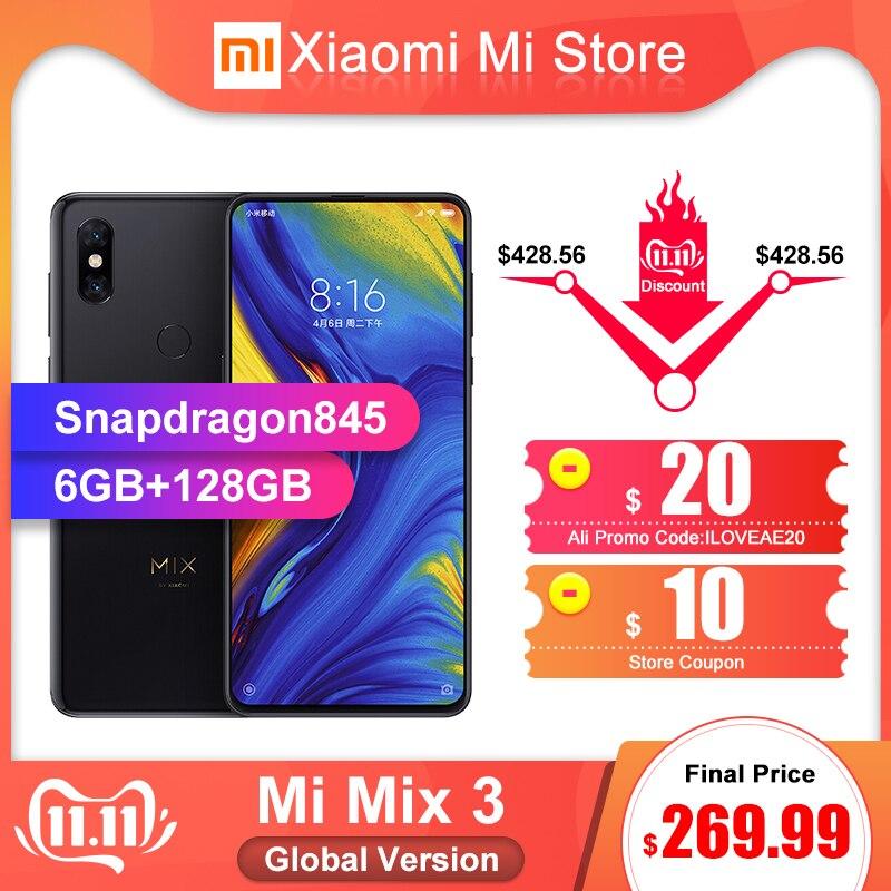 Version mondiale Xiao mi mi mi x 3 6 GB 128 GB 6.39 chargeur sans fil double 12MP pour téléphone portable plein écran Snapdragon 845 Octa Core
