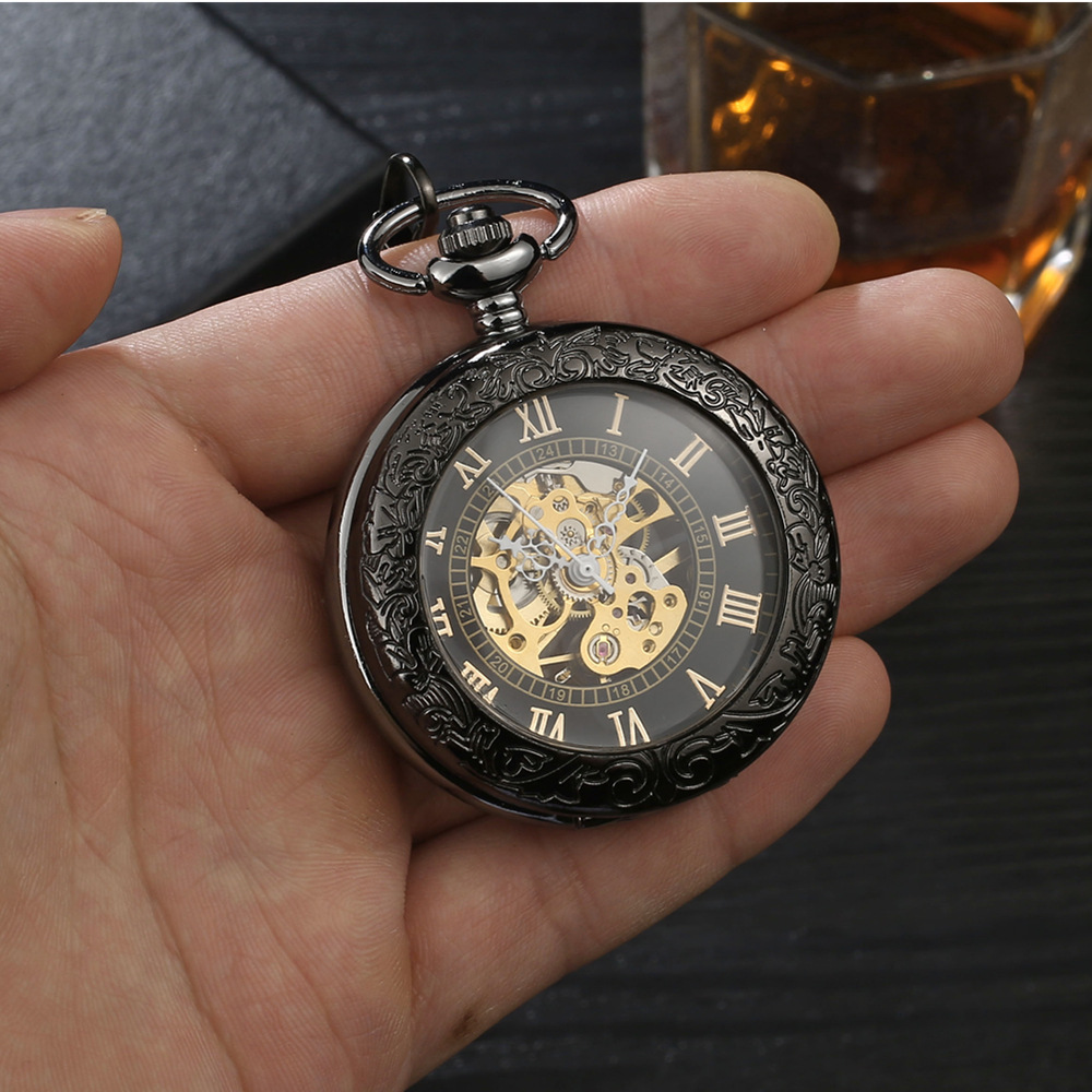 Black Steampunk Retro Machinery Pocket Watch Hollowed Necklace Movement Pocket & Fob Watches With Chain Men Women Clock Gifts