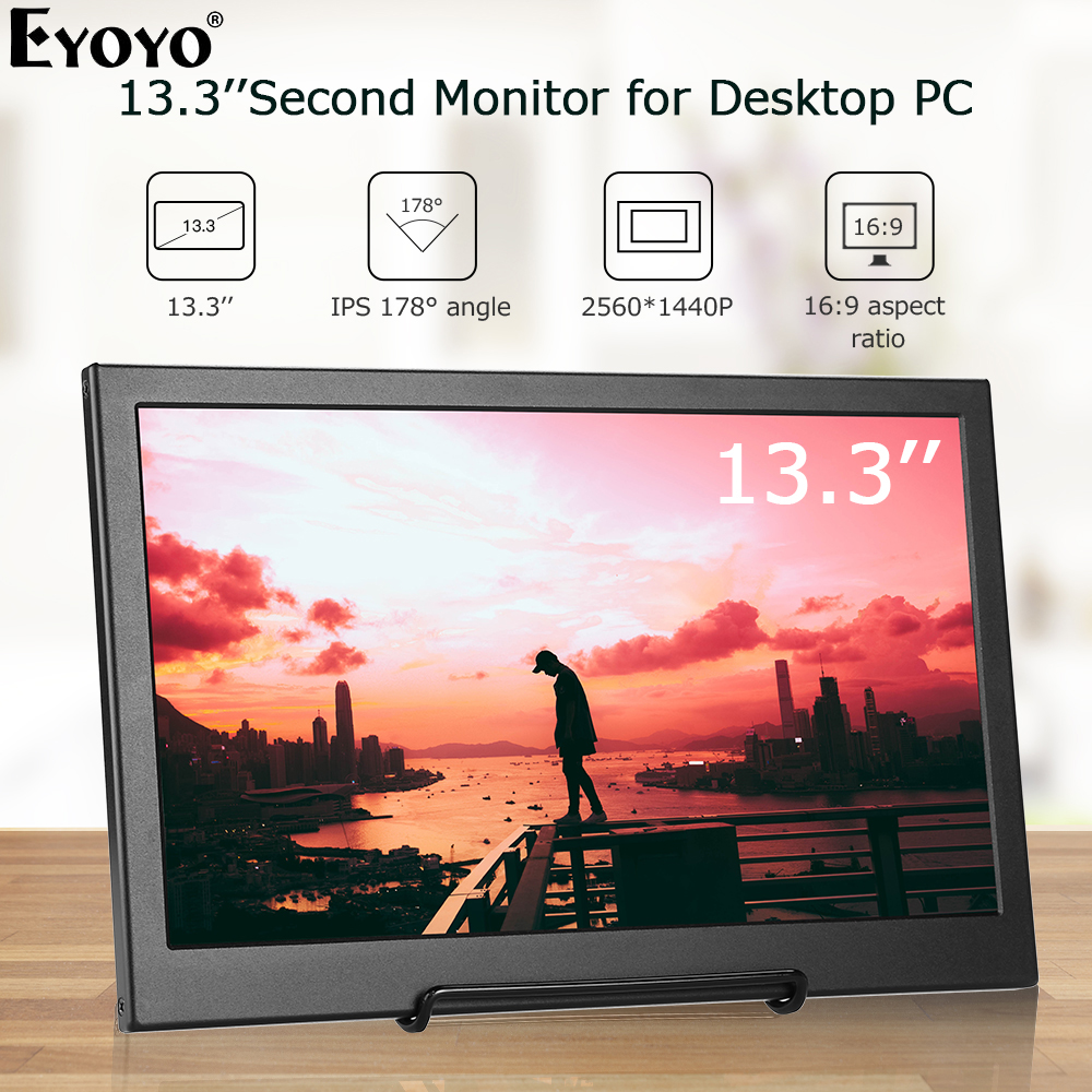 "Eyoyo <font><b>13.3</b></font>"" IPS 2K Portable Monitor pc Second LCD Screen 2560x1440 IPS gaming Monitor <font><b>Display</b></font> with USD HDMI For Raspberry Pi image"