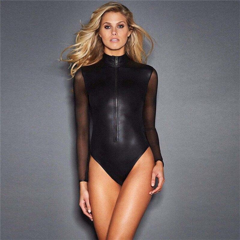 Long Sleeve Sexy Bodysuit Women Zipper Black Pu Leather Bodycon Skinny Romper Cool Autumn Jumpsuit