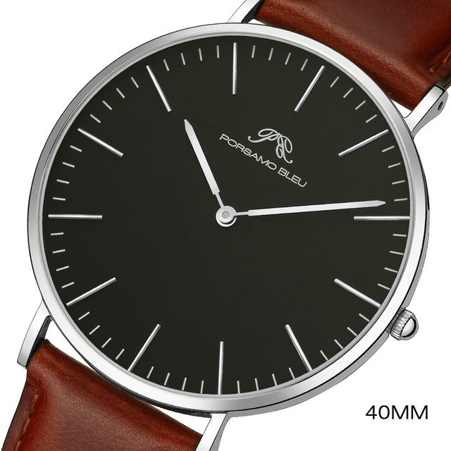 Dial 40mm mens simple fashion watch DW same 316L stainless steel Japanese Shiying movement