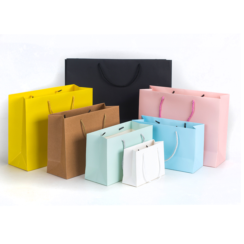 Yellow Paper Bags Solid Pink Blue Glaucous Gift Paper Bags Customization Advertisment Paper Carrier Cloth Shoes Packing Bags
