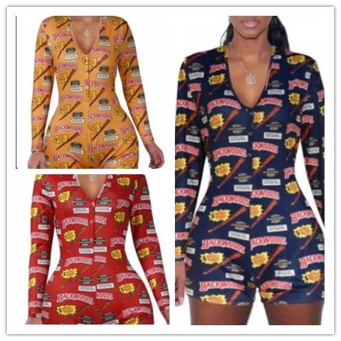 2020 New Hot Fashion Jumpsuit Women's Floral Jumpsuit Long Sleeve Bodycon Clubwear Long Sleeve Bodysuit Romper Short Pants