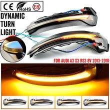 2 pçs/lote para audi a3 s3 rs3 8v 2013-2020 fluxo de água blinker piscando luz dinâmica turn signal luz lateral espelho luz led