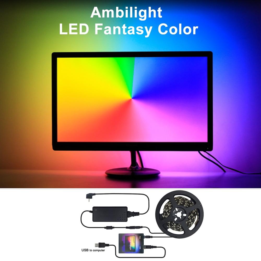 5V WS2812B USB LED Strip light 5050 RGB Dream Color Kit for HDTV Desktop PC Screen Background lighting 1M 2M 3M 4M 5M