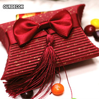 100pcs/lot 2Color Pillow Bow Candy Box with Tassels for Wedding Candy Favor Gift Event Party Supplies Free Ship
