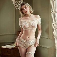 Vintage floral Sexy Pajamas Bra Tops Shorts Lingerie Set for Women Gauze Printed Flower Ruffles Kawaii Lingerie Home Clothes