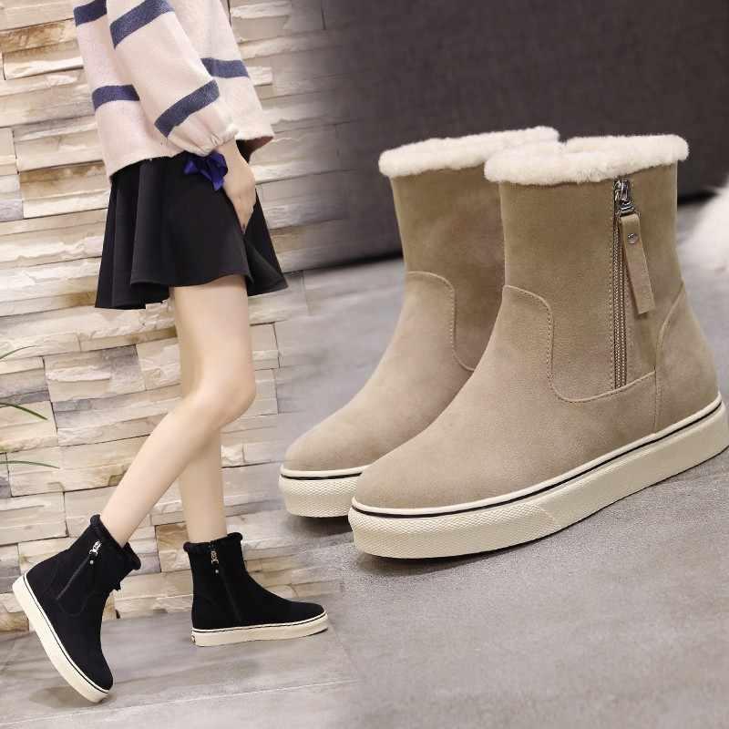STQ kadınlar kış yarım çizmeler kadınlar Flats süet kar botları ayakkabı kadın kışlık bot ayakkabı sıcak tutmak çizmeler kadınlar için b88
