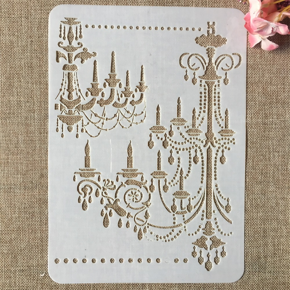 29cm A4 Vintage Palace Chandelier Light DIY Layering Stencils Painting Scrapbook Coloring Embossing Album Decorative Template