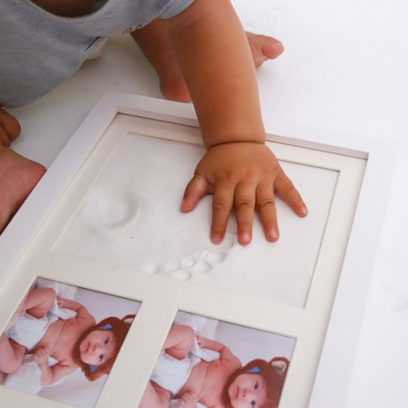 Baby Hand and Foot Print Fashion Simple Solid Wood Baby Dust Proof Memorial Photo Frame Newborn Birth Gift