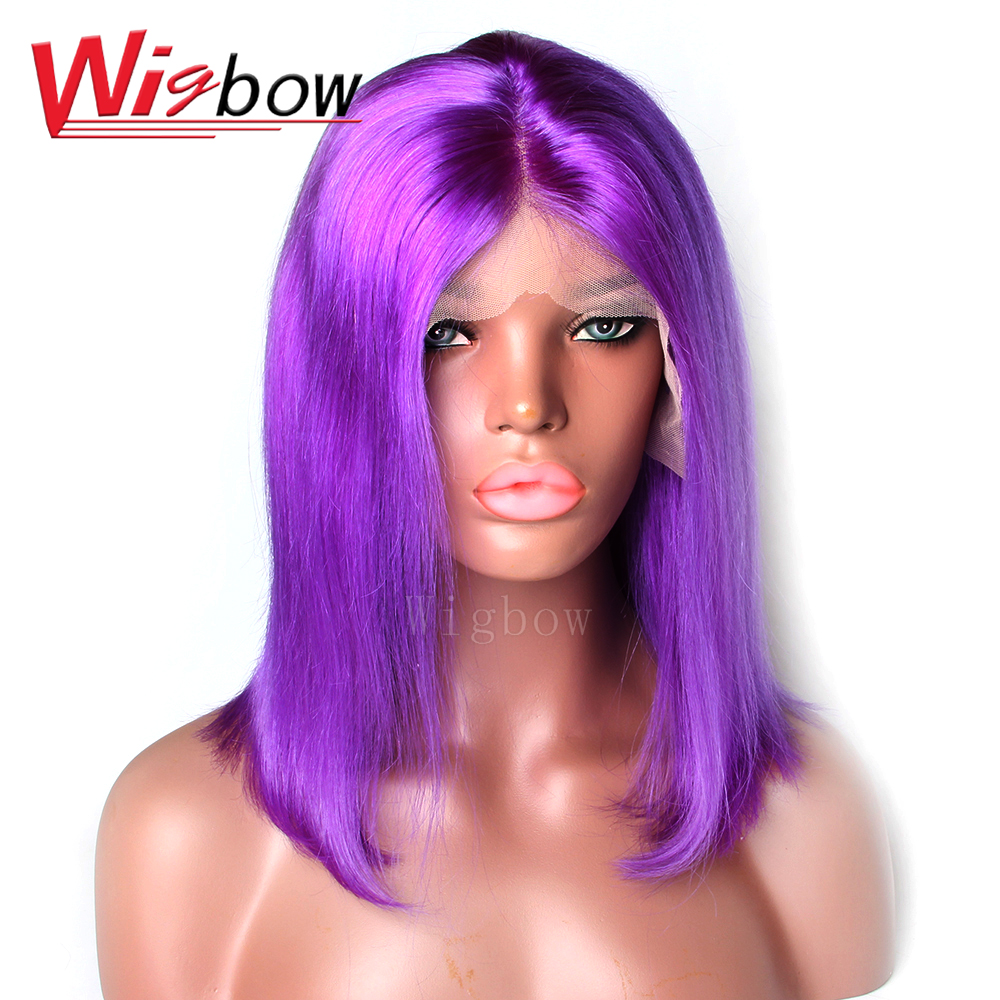 Wigs For Women Remy Hair Short Bob Brazilian Straight Purple Lace Front Ombre Wig 8-14 Inch Wig Bangs With Baby Hair Wigbow Hair