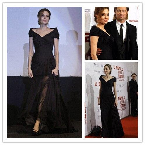 Vestido De Festa Angelina Jolie Car-styling New V-neck Black Long Evening Gown 2020 Floor-length Mother Of The Bride Dresses
