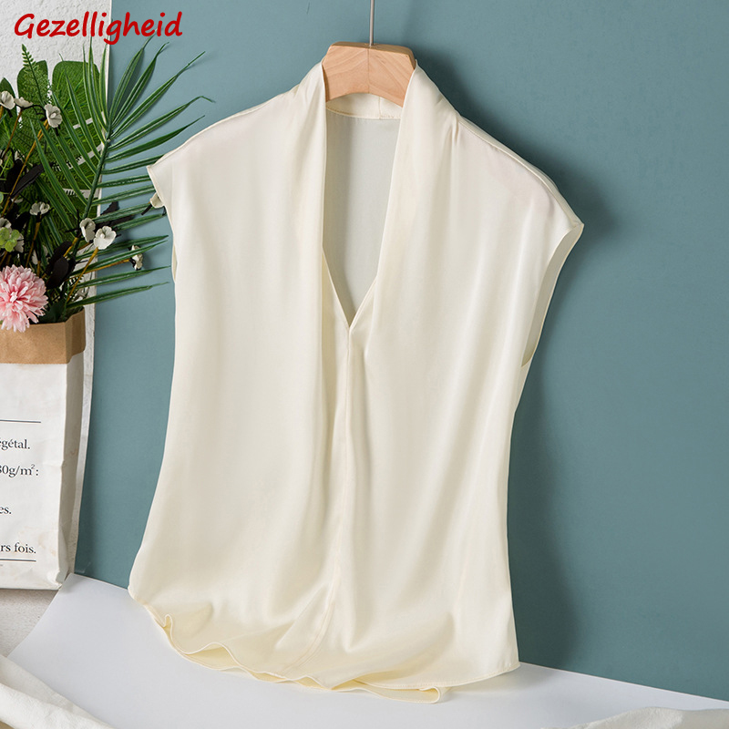 Gezelligheid Silk Tank Tops Women 2021 Fashion Summer V-Neck Sleeveless Elegant Loose Bottom 100% Natural Mulberry Silk Shirts