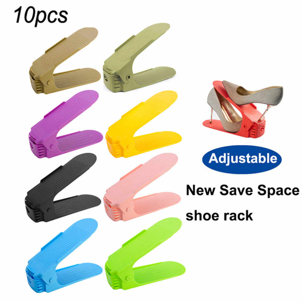 10pcs Shoe Rack Durable Adjustable Organizer Footwear Support Slot Space Saving Cabinet Closet Stand Shoes Storage Rack Shoebox